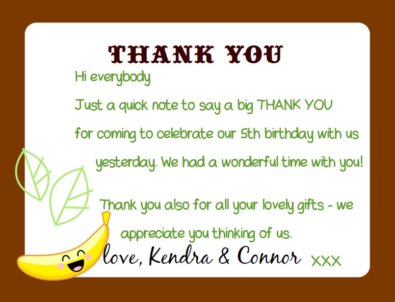 Thank You Messages For Birthday Party Notes A